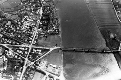 Aerial view of old bridge, sometime before 1970.  5096.