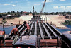 Laying the subdecking.  Laminated 2x8x1 foot x 32 feet. Quang Tri bridge 1970. MCB 10 Det Juliet
