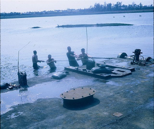 OK, Chief Gill, that' the LAST time you drive!! Bringing in barges from Cua Viet for Quang Tri Bridge early 1970.