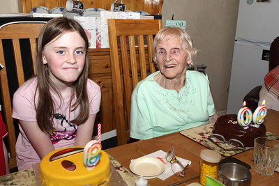 Great Granddaughter Clodagh celebrating her 9th on same day as Bridgie's 90th