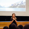 Students at Longsjo Middle School listen to a presentation about weather from Channel 7 Meteorologist Bri Eggers on Wednesday afternoon. SENTINEL & ENTERPRISE / Ashley Green
