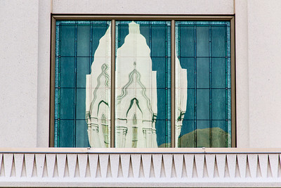 This is the window of the Bridal Dressing Room reflecting the Brigham City Tabernacle.