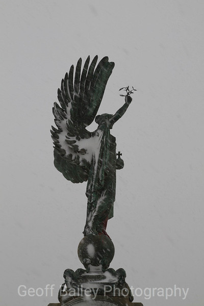 Peace Statue and Snow