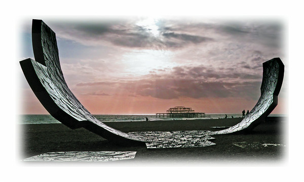 Beach sculpture and West Pier, Brighton