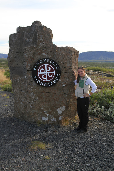Brigitt at the Thingvellir National Park sign