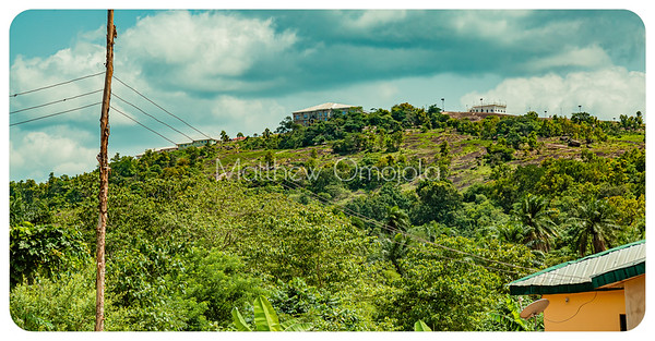 Houses built on some of the hills along Aramoko road in Ekiti State of Nigeria.