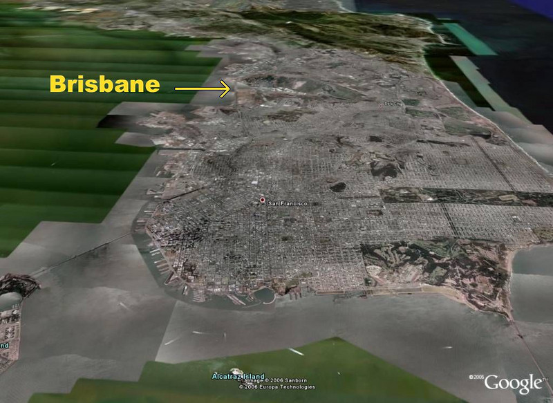 GoogleEarth view toward Brisbane - looking S from SF
