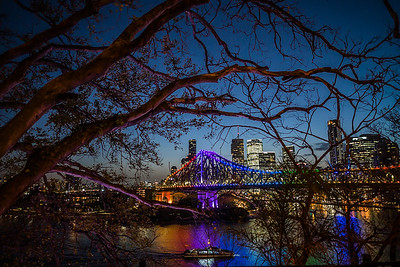 View of Story Bridge at night.