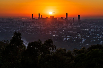 Brisbane city at sunrise.