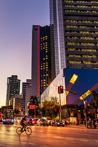 Cycling by W Brisbane at dusk.