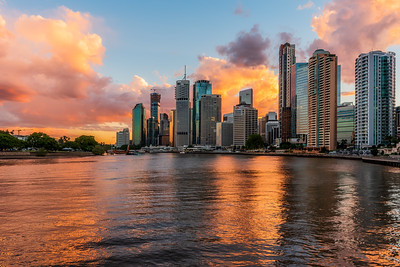 View of Brisbane CBD skyscrapers at City Reach Boardwalk.