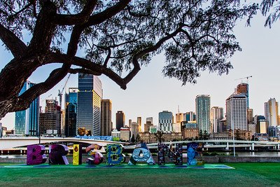 View of Brisbane City skyline from South Bank.