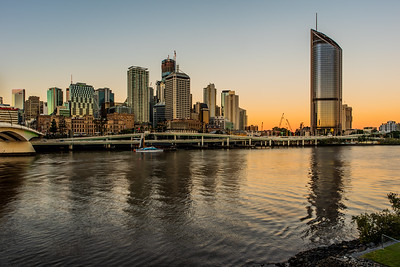 View of Brisbane CBD skyscrapers from South Bank.