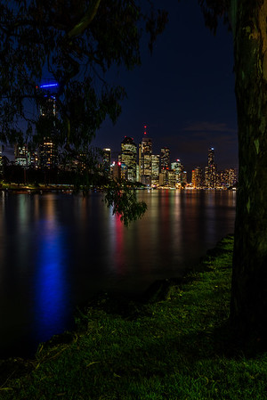 A peek at Brisbane City skyline from Kangaroo Point Cliffs Park.