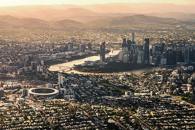 View of Brisbane city from above.