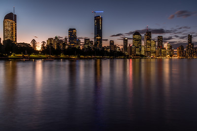 View of Brisbane City skyline from Kangaroo Point Cliffs Park.