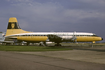 Monarch Airlines Bristol Britannia 312 G-AOVT (msn 13427) EGSU (Richard Vandervord). Image: 930084.