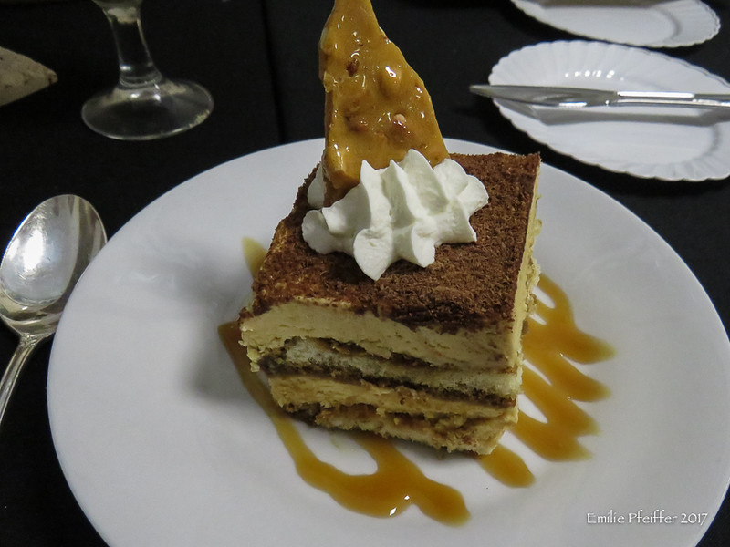 Peanut Butter Tiramisu with Peanut Brittle