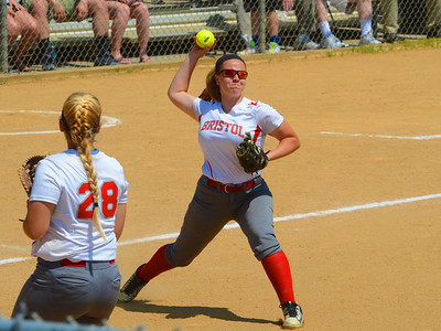 Destiny Brophy (26) fields bunt and fires to first base.
