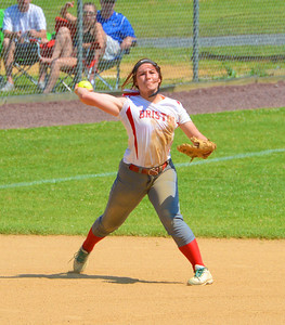 Cara Fabiano (16) makes a throw from deep in the hole.