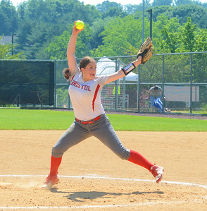 Hailey Sweeney (27) gets everything into pitch.
