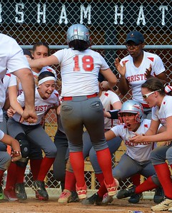 Freshman Hailey Sweeney (#18) gets set to celebrate walkoff homer against Greenwood.