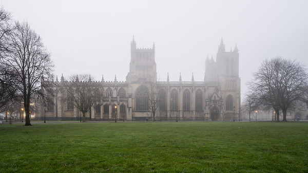 Bristol Cathedral in the mist
