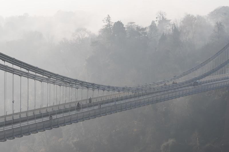 Clifton Suspension Bridge in the fog