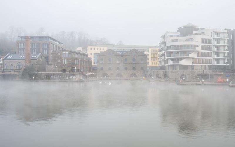 Misty morning on Bristol Harbour