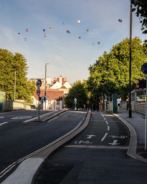 Hot air balloons over Bristol cycleway