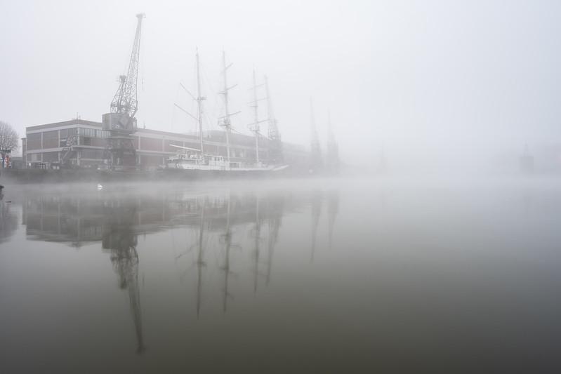Bristol docks in the fog