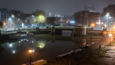 Misty night on Bristol Docks