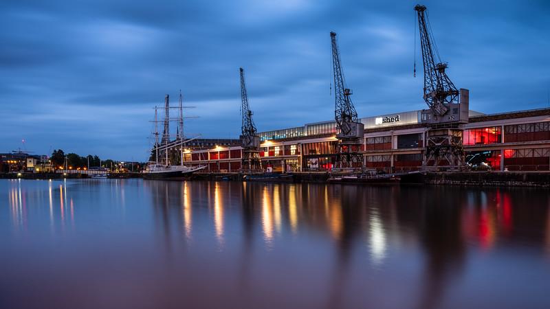 Bristol docks at dusk