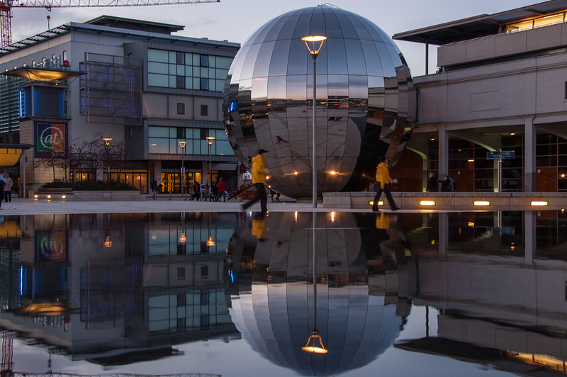 Reflections in Bristol's Millennium Square