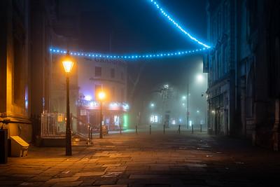Misty night on Corn Street
