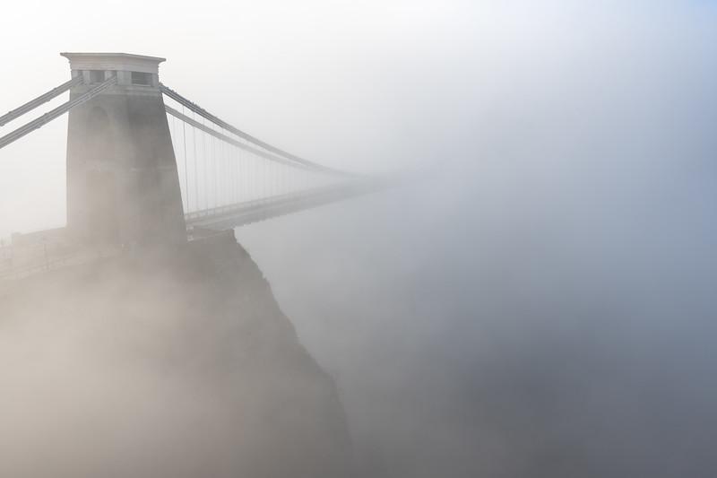 Clifton Suspension Bridge in fog
