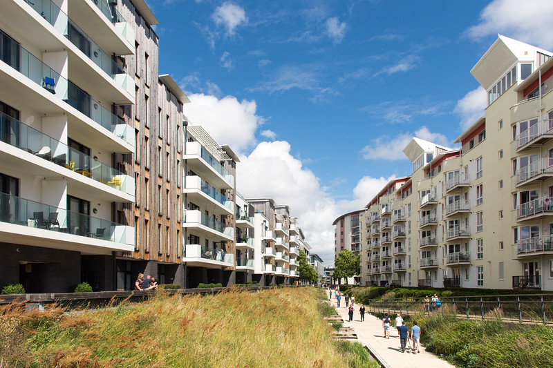 Harbourside flats and footpath, Bristol