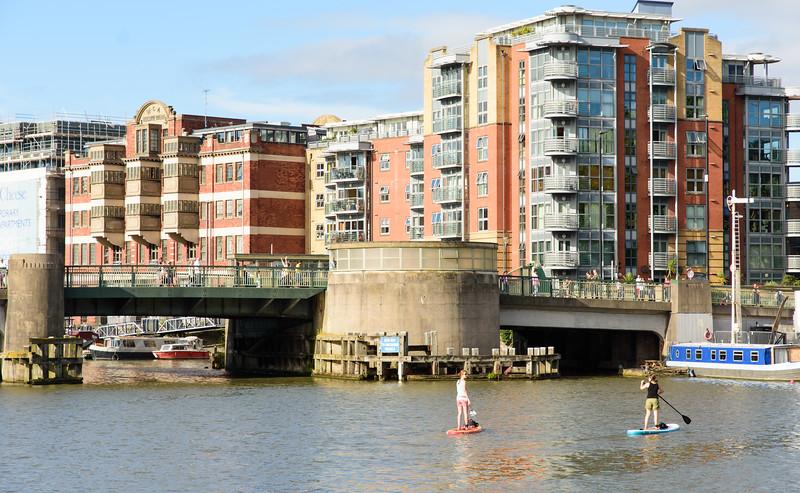 Paddleboarding in Bristol Harbour