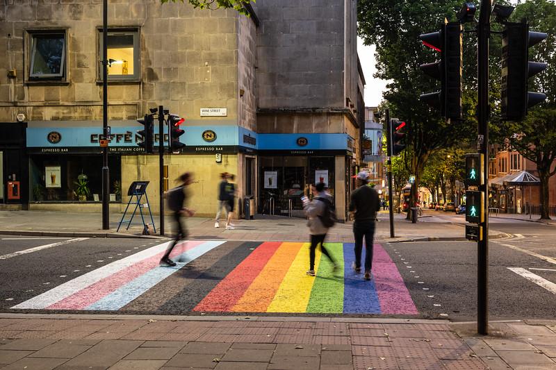 Pride flag pedestrian crossing in Bristol