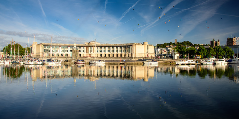 Hot air balloons over Bristol Harbour