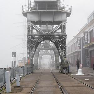 Fog on Bristol docks