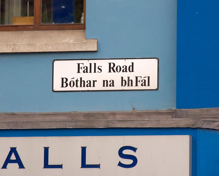 Bi-lingual street name, Falls Road, Belfast, 7 May 2009