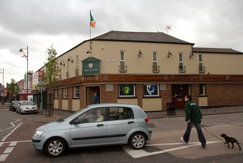 Irish tricolour, Clonard Street, Falls Road, Belfast, 7 May 2009.  The tricolour was once banned in Northern ireland.