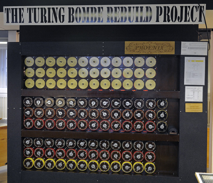 Replica Turing bombe, Bletchley Park, 29 December 2012 1.  The bombe was designed by Alan Turing and Gordon Welchman to discover the settings applied to Enigma machines.  The Germans changed the settings every day, and messages could not be decyphered without knowing them.