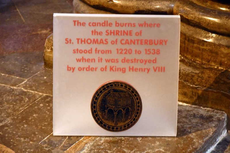 Trinity Chapel, site of the shrine of St Thomas of Canterbury, Canterbury Cathedral, 10 May 2017 1  Thomas Becket, Archbishop of Canterbury, was murdered in the cathedral in December 1170 during a power struggle with King Henry II.  He became venerated as a saint and martyr, and his shrine drew many pilgrims as recounted in Geoffrey Chaucer's Canterbury Tales.  The shrine was destroyed during King Henry VIII's dissolution of England's monasteries.