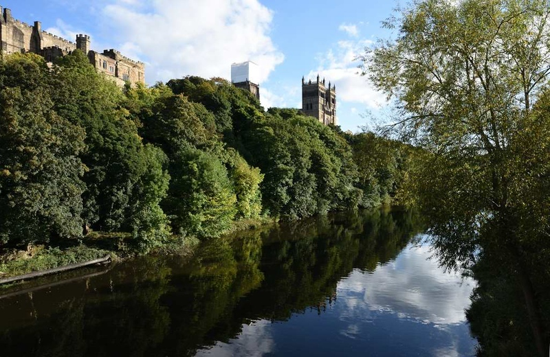 River Wear, castle and cathedral, Durham, 28 September 2017.