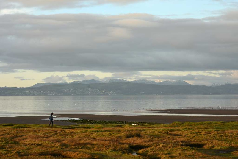 Morecambe Bay, Sun 6 December 2020.  The Coniston fells and Grange-over-Sands.
