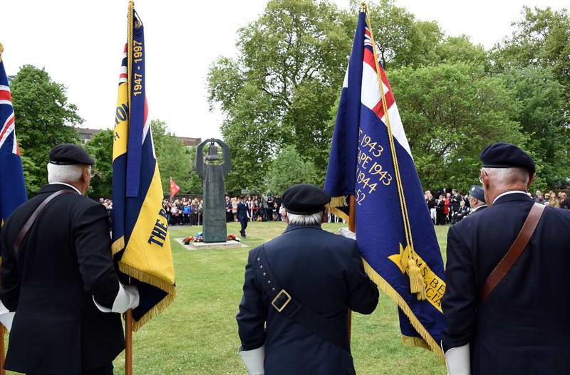Soviet VE Day commemoration, Geraldine Mary Harmsworth Park, Southwark, London, 9 May 2017 1.  The London Soviet war memorial is outside the Imperial War Museum, and is the setting for an annual commemoration on 9th May, one day after VE Day in the west.  The Royal British Legion standard at right is from the HMS Belfast Association.  One of the battle honours it bears is North Cape 1943, when HMS Belfast took part in the sinking of the German battleship Scharnhorst, which had been attempting to attack British aid convoys to Russia.  In 2010 Russia paid for the replacement of Belfast's corroded masts - see my photos of the preserved cruiser in the ships section of this site.