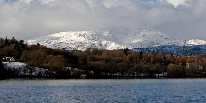 Wetherlam, looking west from the northern end of Windermere, 23 January 2009    This and the next six shots show the mountains around the northern end of Windermere.