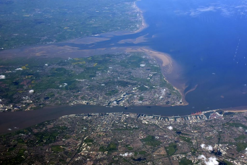 Liverpool (bottom), River Mersey, the Wirral peninsula and River Dee, 12 May 2019 - 0955.